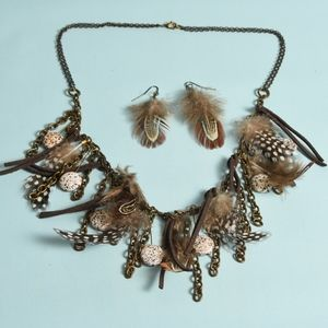 Boho Feather & Leather necklace & earring set